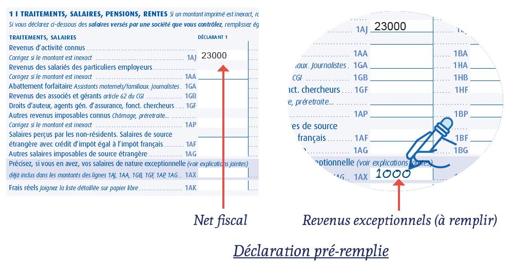 declaration revenus exceptionnels impot